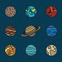 Set av planeter vektor