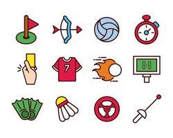 Sportlinie und Füllsymbolsatz vektor