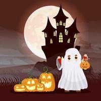 Halloween dunkle Szene mit Kürbis und Kind in einem Geisterkostüm vektor