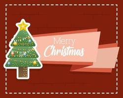 god julkort med pinjeträdetikett vektor