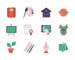 skola och utbildning platt-stil ikonuppsättning vektor