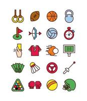sportlinje och fyll ikonuppsättning