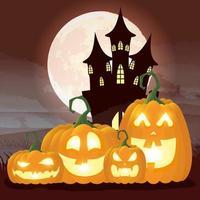 Halloween dunkle Nachtszene mit Kürbissen und Schloss vektor