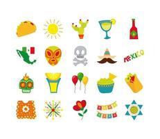 mexikansk kultur platt ikonuppsättning