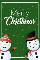 god julkort med söta snögubbar vektor