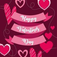 glad Alla hjärtans dagskort med band och hjärtan vektor