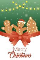 god julkort med söta ingefära kakor vektor
