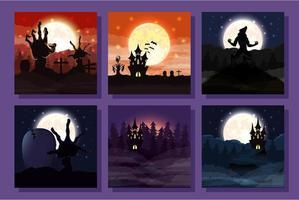 Bündel von Halloween-Szenen vektor