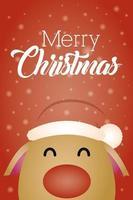 god julkort med söt renkaraktär vektor