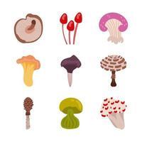 svamp och svamp ikonuppsättning vektor