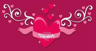 glad Alla hjärtans dagskort med hjärta och band vektor