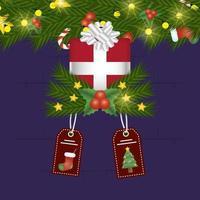 Frohe Weihnachtskarte mit Geschenk und Tags hängen vektor