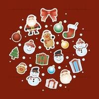 god julkort med karaktärer i en rund form vektor
