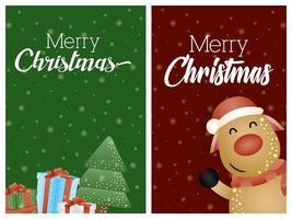 god julkortuppsättning med söt renkaraktär vektor