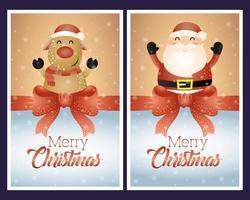 god julkort med jultomten och renkaraktärer vektor