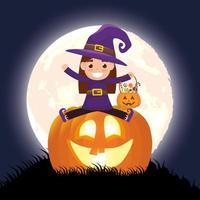 Halloween dunkle Szene mit Kürbis und Kind in einem Hexenkostüm vektor