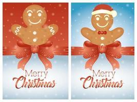 god julkortuppsättning med ingefära kakor vektor