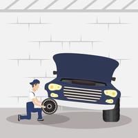 man mekaniker arbetar i en bil, byta däck vektor