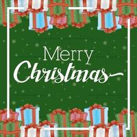 Frohe Weihnachtskarte mit Geschenkrahmen