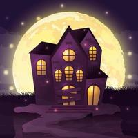 Halloween dunkle Nachtszene mit Schloss vektor