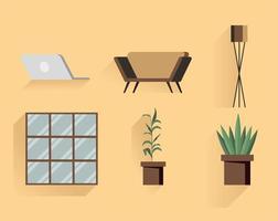 hem och dekor ikonuppsättning vektor