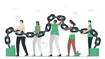 Leute benutzen Blockchain, um gemeinsam eine Datenbank zu erstellen. vektor