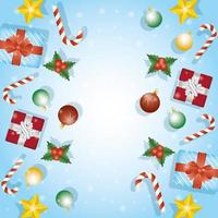 Frohe Weihnachtskarte mit Geschenkrahmen vektor