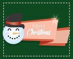god julkort med söt snögubbe karaktär vektor