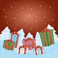 god julkort med presentaskar presenter vektor