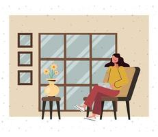 ung tecknad kvinna med bärbar dator hemma vektor