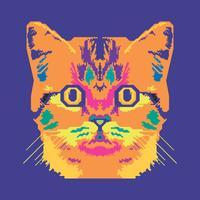 Vektor-Pop-Art-Porträt einer Katzen-Illustration vektor