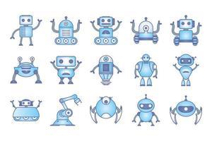 bunt av robotikoner vektor
