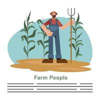 bondfolk och bonde man med rake banner mall vektor