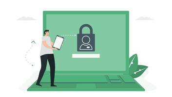Das NFC-Smartphone kann das Passwort vom Laptop entsperren. vektor