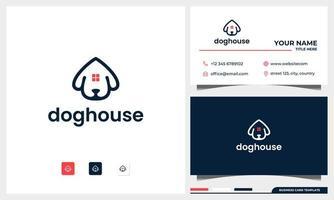 Hundekopf mit Hauslogo-Entwurfskonzept mit Visitenkartenschablone vektor