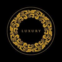 Luxus Ornament Kreis Gold Emblem vektor