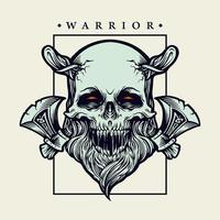 viking skalle krigare med yxor vektorillustration vektor