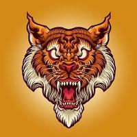 tigerhuvud tatuering illustration vektor
