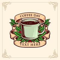 kaffe dag banner vintage illustration vektor