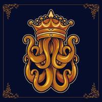 König Oktopus mit Krone Luxus Design vektor
