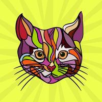 Flache Katzen-Pop-Art-Vektor-Illustration