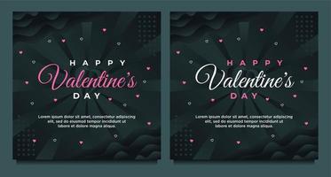 Alla hjärtans dag gratulationskort och sociala medier postmall med mörk bakgrund vektor