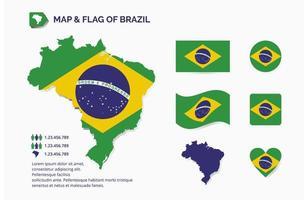 uppsättning karta och flagga Brasilien vektor