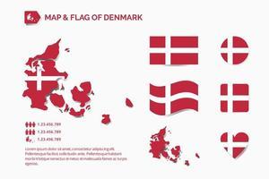 Karte und Flagge von Dänemark vektor
