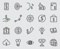 Dollarzeichen-Konzeptliniensymbole eingestellt vektor