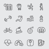 övning för hälsa linje ikoner set