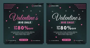 glad alla hjärtans dag försäljning sociala medier post mall med mörk bakgrund mall vektor