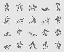 kroppsövning linje ikoner set