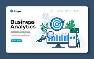 modern platt design illustration av affärsanalys. kan användas för webbplats och mobilwebbplats eller målsida. vektor illustration