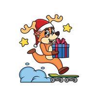 Hirsch Weihnachten Zeichentrickfigur bringt Geschenk mit Skateboard. Tierikonenkonzept im weißen Hintergrund. vektor